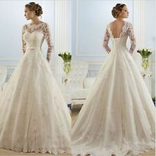 New White/Ivory Lace Wedding Dress Bridal Gown Size 4 6 8 10 12 14 16 18 ++