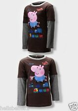 "BOY'S ""PEPPA PIG'S GEORGE DOUBLE LAYER EFFECT LONG SLEEVE TOP 2 3 4 5 6 7 8YEARS"