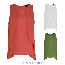 Womens Ladies Loose Sleeveless Casual Chiffon Summer Vest Shirt Tops Blouse 8-22