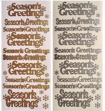 SEASONS GREETINGS Peel Off Stickers Christmas Snowflakes Winter Silver or Gold