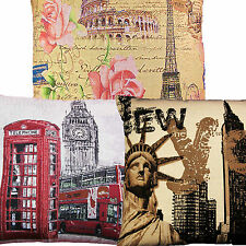 """London, New York, Paris, Cushion Cover Covers Tapestry 18"""" x 18"""""""