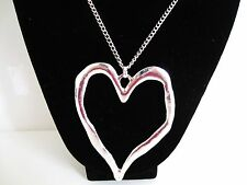 Long adjustable silver double heart designer statement necklace with snake chain