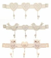 Shabby Chic Wall Hooks Triple Bird Owl Heart Sass & Belle Cream Metal