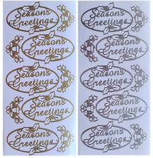 OVAL SEASONS GREETINGS Peel off Stickers Christmas Holly Winter Gold or Silver