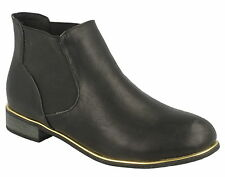 Ladies Ankle Boots Black PU Leather Elasticated Slip On's Wedge Heel New