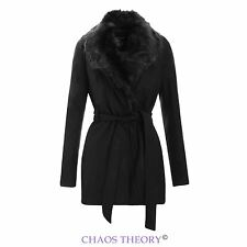 Womens New Ladies Belted Coat Jacket Black Fur Collar Faux Wool Sizes 8-24
