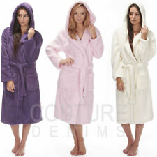 Ladies Dressing Gown Robe Soft Hooded Plain Cosy Snuggle Fleece Luxurious Warm
