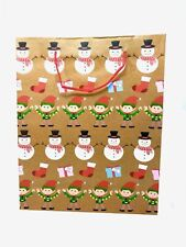 Pack Of 12 Christmas Gift Party Bags Natural Paper Xmas Gift Packaging Holly Bag
