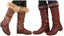 Boot Cuff Topper Top Faux Fur Knee High Riding Leg Warmer Winter Ladies Womens