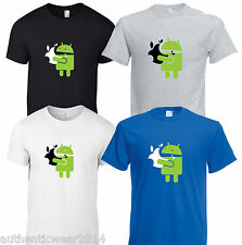 Google Android Robot eating Apple SAMSUNG Funny T shirt Humor Geek top Tee 5*