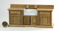 Dollhouse Miniature Furniture - Kitchen Counter in Oak with a White Sink