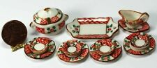 Dollhouse Miniature 1:12 Red & Green Holiday Ceramic Dinner Set