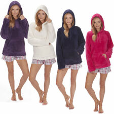 Ladies Coral Soft Snuggle Fleece Hoody Luxurious Warm Top Jumper Warm Pockets
