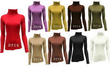 LADIES RIBBED LONG SLEEVE  POLO ROLL NECK CASUAL TOP COTTON T-SHIRT JUMPER(USM)