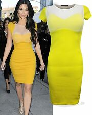 LADIES WOMENS KIM KARDASHIAN PADDED BOOBTUBE BRA MESH INSERT BODYCON MINI DRESS