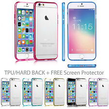 NEW CLEAR Hard/Silicone/TPU Case Cover for iPhone 5,6,6s, FREE Screen Protector