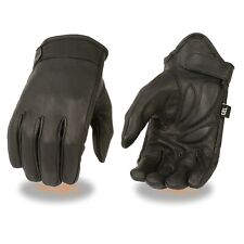 Men's Cruiser Motorcycle Driving Glove w/ Side Stretch & Gel Palm - Short Wrist
