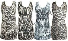 96A-ANIMAL LEOPARD SNAKE ZEBRA PRINT RACER / MUSCLE BACK VEST TOP-8,10,12,14-NEW