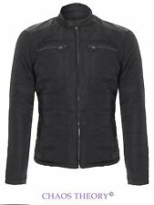 Brave Soul Mens Jacket Quilted Padded Pu Detail Cargo Winter Coat Sizes S-Xl