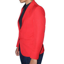 WOMEN  STYLISH SHORT LENGTH   DESIGNER JACKET BLAZER   RED  WITH BLACK TRIMMINGS
