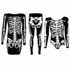 New Womens Skeleton Print Long Sleeve Bodycon Halloween Party Dress Plus 8-26
