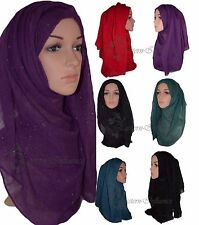 NEW PLAIN CRUSHED GLITTER THREAD MAXI LARGE HIJAB SCARF SHAWL ABAYA