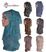 NEW SOFT CRUSH ROSE FLOWER BLACK FLORAL HIJAB SCARF SHAWL NIQAB JILBAB ABAYA