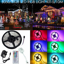 5M/10M SMD 3528/5050 RGB LED Strip Light Waterproof + Power Adapter + Remote UK