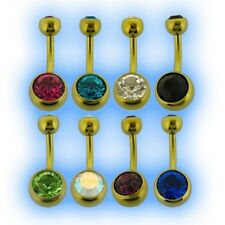 Yellow Titanium Jewelled Belly Bar UK Made 6AL-4V ELi Choose Gem and length