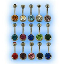 Titanium Jewelled Belly Bar UK Made Grade 23 6AL-4V ELi 6mm 8mm 10mm 12mm 14mm