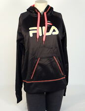 Fila Signature Black Pullover Hoodie with Thumbholes Women NWT
