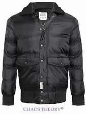 D-Struct Mens Coat Quilted Padded Fur Collar Winter Ribbed Jacket