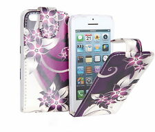 PU Leather Purple Flower Flip Case Cover For Various iPhone Mobile Handsets