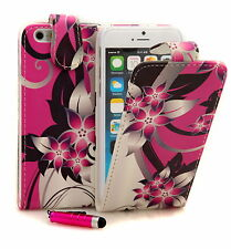 PU Leather Pink Flower Flip Case Cover For Various iPhone Mobile Handsets