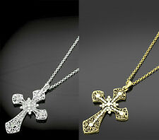 Ladies Large Cross Crucifix Fashion Necklace Gold or Silver Tone Crystal Detail