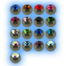 Titanium Jewelled Ball 1.2mm 16g Choose Gem Colour Size 3mm 4mm Grade 23