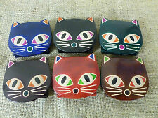 SMALL LEATHER COIN PURSE. CAT'S FACE! 5 COLOURS. NICE CHILDREN'S STOCKING FILLER