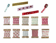 Christmas Ribbon Tape for Crafts Wrapping ~ Different Designs Colours