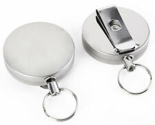 Retractable Recoil Key Ring with Belt Clip Retracting Extending Chain 1-25 UK SE
