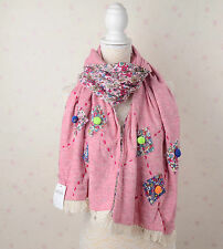 Quirky Unique Hand Stitched Embroidery Fringed Scarf Japanese Mori Pink/Yellow