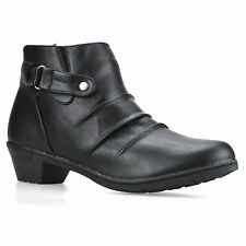 Ladies Womens Mid Block Heel Zip Up Chelsea Ankle Cowboy Biker Boots Shoes Size