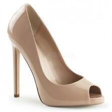 SEXY-42, Peep Toe Stiletto Pumps beige (Nude) Lack