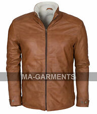 Mens Brown Vintage Waxed Fur Lined Genuine Leather Jacket by MA-Garments