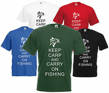 Keep Carpa E Carry On Pesca T-shirt Tee Di Commedia Divertente Fly Pescatore