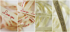 True Love & Love You Message Ribbons - Cut Length - Valentines, Gift 3 FOR 2