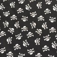 Printed BLACK Poly Cotton with WHITE SKULLS 115cm poly cotton sold by metre