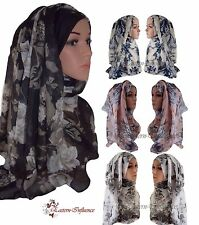 NEW FLORAL ROSE BLOOM LARGE MAXI FLORAL HIJAB SCARF SHAWL NIQAB JILBAB ABAYA