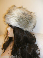 BNWT NEW LOOK CREAM BEIGE TAUPE FAUX FUR DIVA COSSACK RUSSIAN HAT SCARF SET
