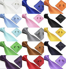 Woven Silk Tie Set Cufflinks and Handkerchief Gift Set Hanky  For Wedding Party