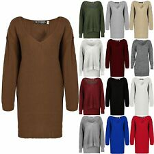 Womens Ladies V Plunge Oversized Baggy Chunk Knit Long Sweater Jumper Dress Top
